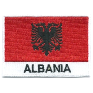 Embroidered iron on national flag of Albania with name text.