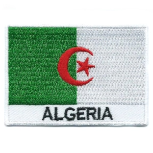 Embroidered iron on national flag of Algeria with name text.