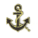 Black nautical anchor with gold outline