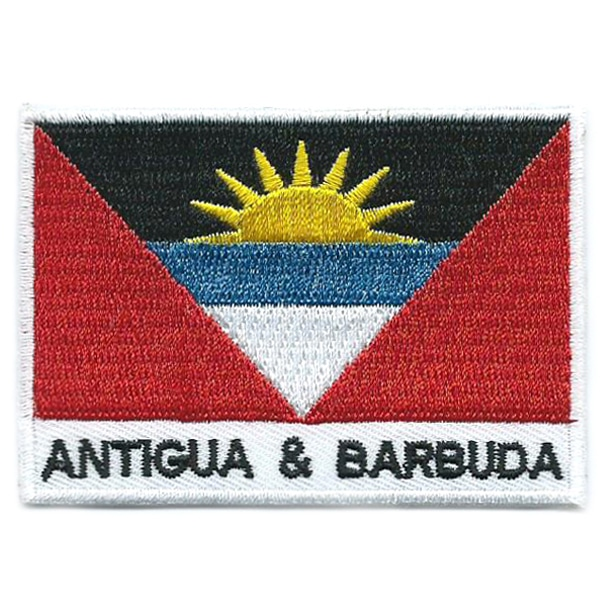 Embroidered iron on national flag of Antigua and Barbuda with name text.