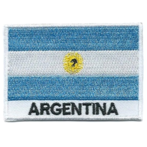Embroidered iron on national flag of Argentina with name text.