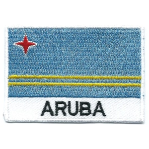 Embroidered iron on national flag of Aruba with name text.