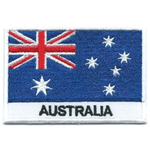 Embroidered iron on national flag of Australia with name text.