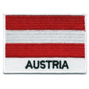 Embroidered iron on national flag of Austria with name text.