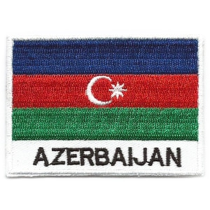 Embroidered iron on national flag of Azerbaijan with name text.