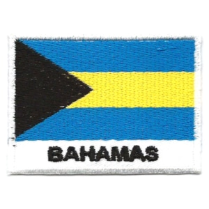 Embroidered iron on national flag of Bahamas with name text.