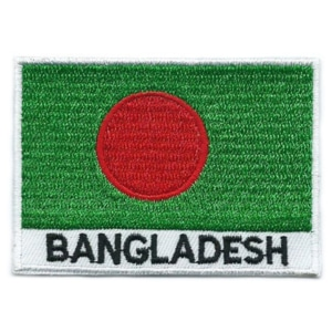 Embroidered iron on national flag of Bangladesh with name text.
