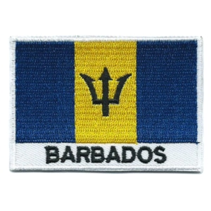 Embroidered iron on national flag of Barbados with name text.