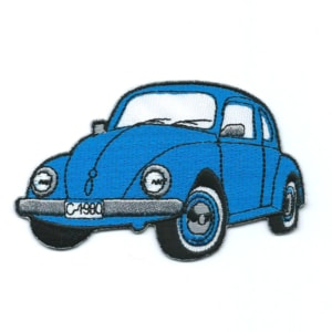 Classic blue embroidered beetle car patch.