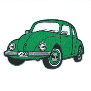 Classic green embroidered bettle car patch.