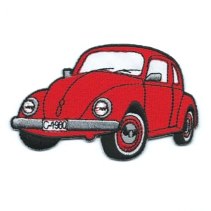 Classic red embroidered beetle car patch.