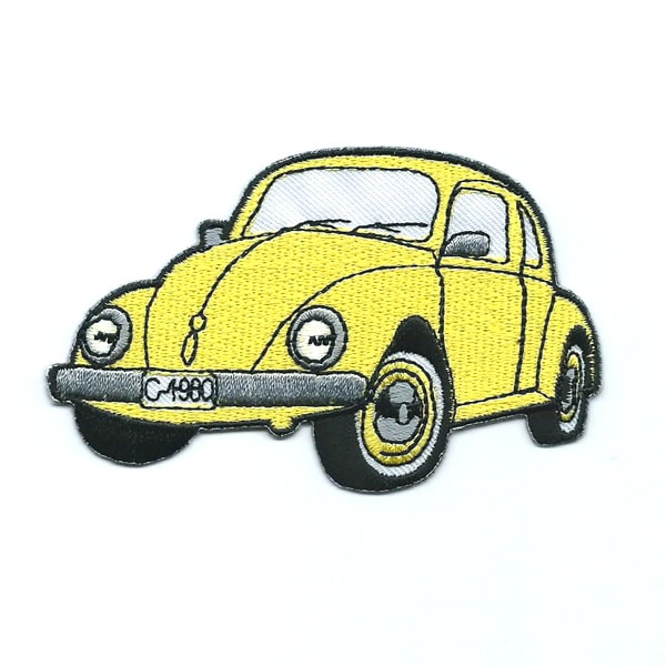 Classic yellow embroidered beetle car patch.