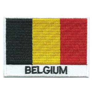 Embroidered iron on national flag of Belgium with name text.