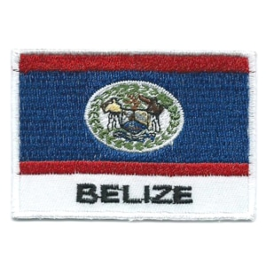Embroidered iron on national flag of Belize with name text.