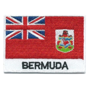 Embroidered iron on national flag of Bermuda with name text.