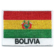 Embroidered iron on national flag of Bolivia with name text.