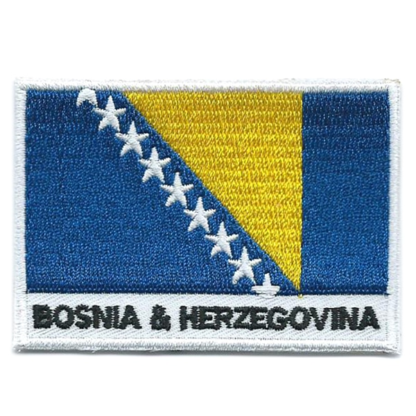 Embroidered iron on national flag of Bosnia and Herzegovina with name text.