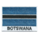 Embroidered iron on national flag of Botswana with name text.