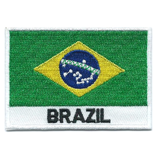Embroidered iron on national flag of Brazil with name text.