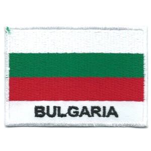 Embroidered iron on national flag of Bulgaria with name text.