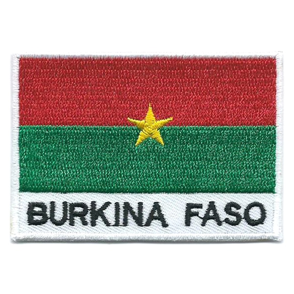 Embroidered iron on national flag of Burkina Faso with name text.