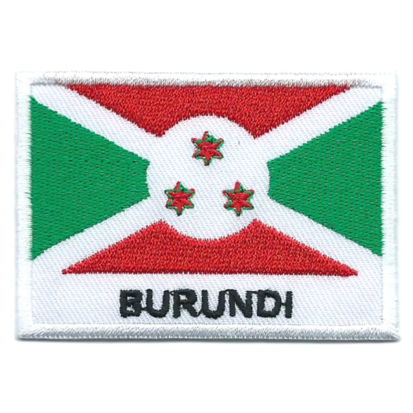 Embroidered iron on national flag of Burundi with name text.