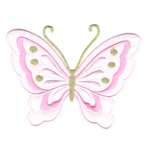 Iron on embroidered pink butterfly patch