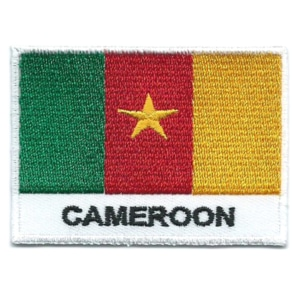 Embroidered iron on national flag of Cameroon with name text.
