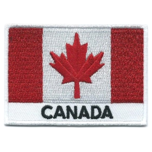 Embroidered iron on national flag of Canada with name text.