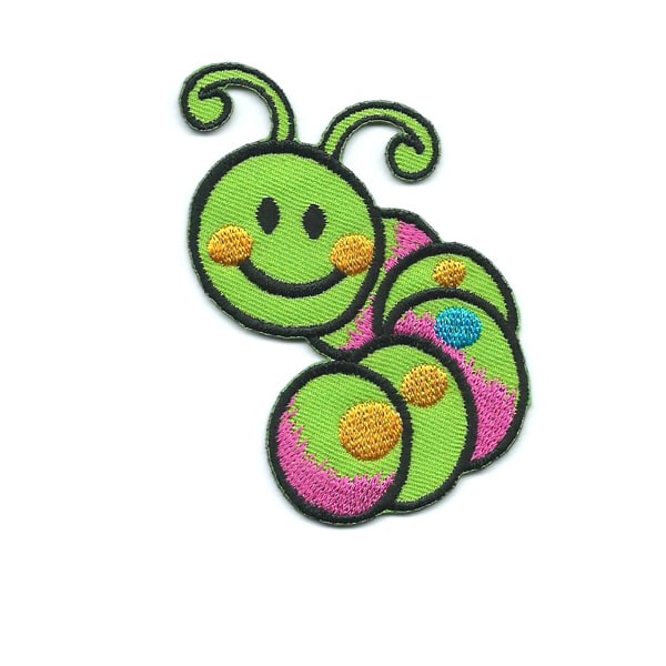 Embroidered patch of a cute green smiling caterpillar