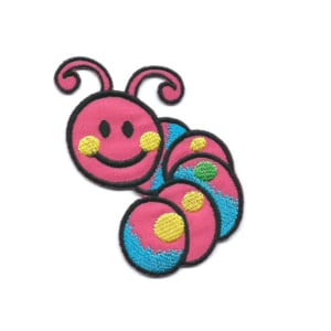 Embroidered patch of a cute pink smiling caterpillar
