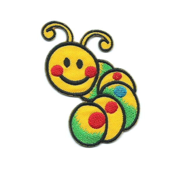 Embroidered patch of a cute yellow smiling caterpillar