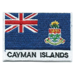 Embroidered iron on national flag of the Cayman Islands with name text.
