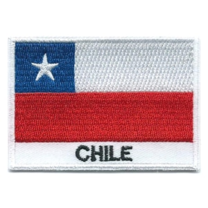 Embroidered iron on national flag of Chile with name text.