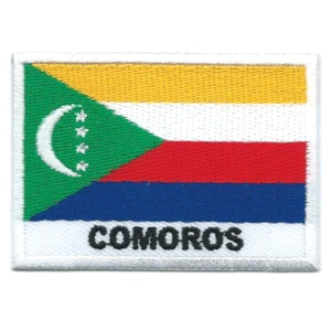 Embroidered iron on national flag of Comoros with name text.