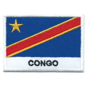 Embroidered iron on national flag of the Democratic Republic of Congo with name text.