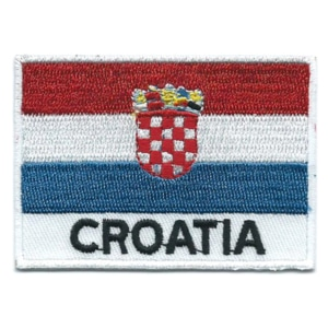 Embroidered iron on national flag of Croatia with name text.