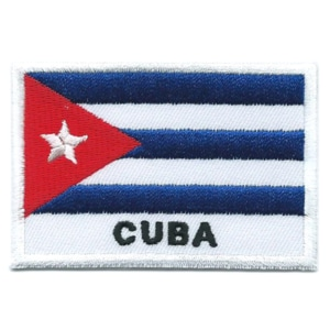 Embroidered iron on national flag of Cuba with name text.
