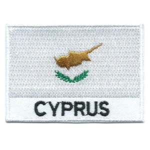 Embroidered iron on national flag of Cyprus with name text.