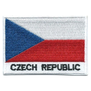 Embroidered iron on national flag of Czech Republic with name text.