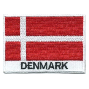 Embroidered iron on national flag of Denmark with name text.