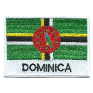 Embroidered iron on national flag of Dominica with name text.