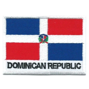 Embroidered iron on national flag of the Dominican Republic with name text.