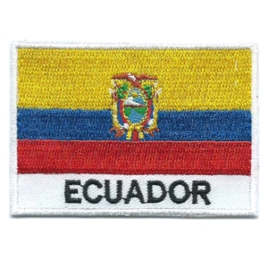 Embroidered iron on national flag of Ecuador with name text.