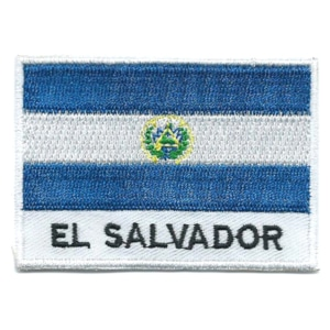 Embroidered iron on national flag of El Salvador with name text.