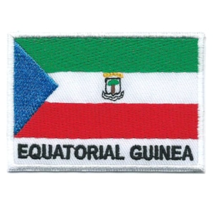 Embroidered iron on national flag of Equatorial Guinea with name text.