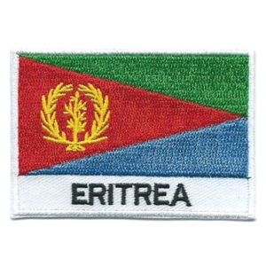 Embroidered iron on national flag of Eritrea with name text.