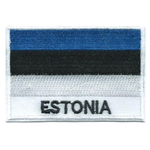 Embroidered iron on national flag of Estonia with name text.