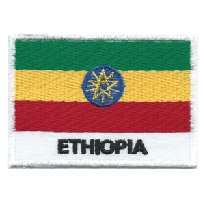 Embroidered iron on national flag of Ethiopia with name text.