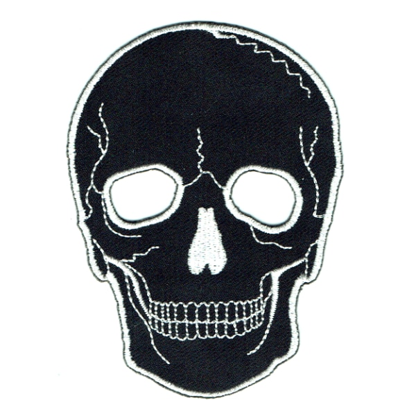 Iron on embroidered black death skull patch